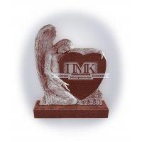 Памятник из красного гранита К-1 Ангел с сердцем