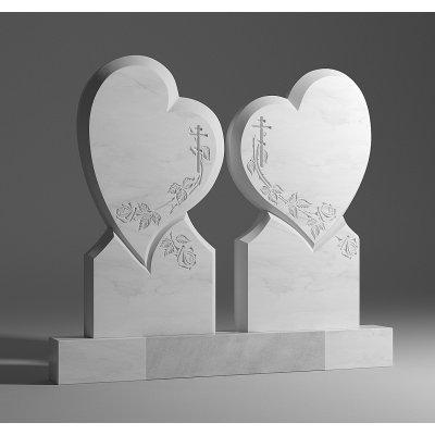 Двойной памятник из белого мрамора № 8