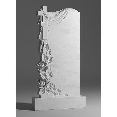 Резной памятник из белого мрамора № 17