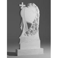 Резной памятник из белого мрамора № 1