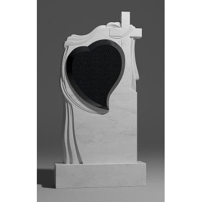 Резной памятник из белого мрамора № 175-1