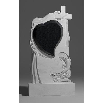 Резной памятник из белого мрамора № 176-1