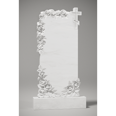 Резной памятник из белого мрамора № 201