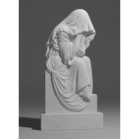 Резной памятник в виде скорбящей из белого мрамора
