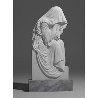 Резной памятник в виде скорбящей из мрамора коелга