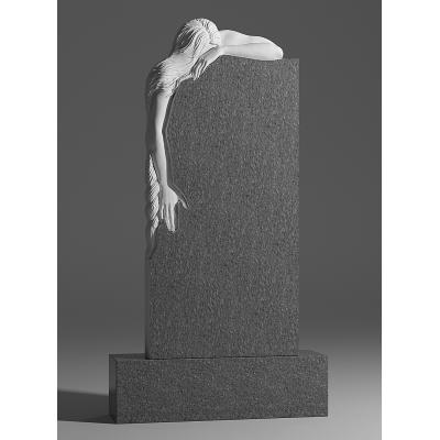 Резной памятник из серого гранита № 229