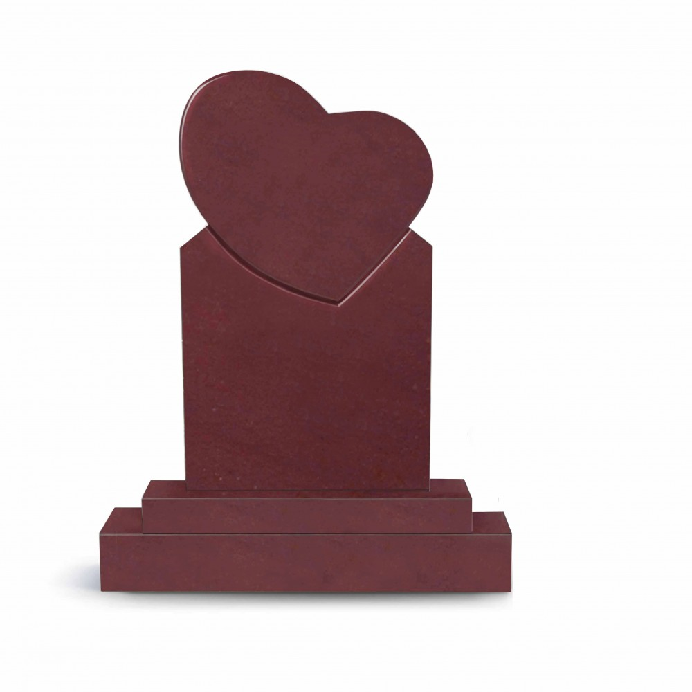 Памятник сердце из малинового кварцита Шокша